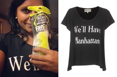 Mindy Kaling wears this black and white slogan tee by Wildfox Couture (Instagram 9/9/13). //// Wildfox We'll Have Manhattan Lazy Weekend Tee - $68