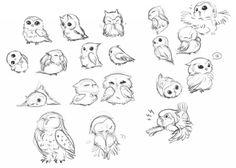 Baby Owls studies by hinokit.... to inspire #facepaintschool #facepaint365 project