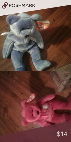 2 RETIRED Beanie Babies 93-2000 One pink and one blueish green Ty Other