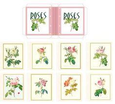miniature printable scrapbook for stationery shop Puppenhaus, Buch mit Rosen
