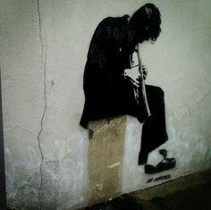 streetcorner musician by Jef Aerosol