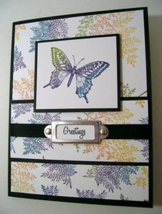 """By Phantom at Splitcoaststampers. Stamp using Kaleidacolor """"Spectrum"""" ink pad. Add mats and sentiment. Very pretty!"""