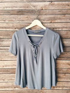 Claudia Lace Up Tee (Light Blue) love this website