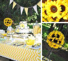 Sunflower party dessert table decorations
