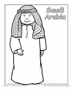 Multicultural Coloring: Saudi Arabia - Color in this picture of a friendly boy in traditional clothing from Saudi Arabia. Detailed Coloring Pages, Colouring Pages, Coloring Pages For Kids, Coloring Sheets, Uae National Day, Little Passports, World Thinking Day, Mermaid Coloring, Harmony Day