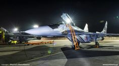 Here are some shots taken at the 23rd Tactical Air Base of the Polish Air Force where MiG-29 aircraft are stationed. The set of photographs shows the night operations of the Fulcrum jets of the stationed in Minsk Mazowiecki. The 23rd Tactical Air Base continues the traditions of the famous RAF Squadron 303., which made great contributions to the Battle of Britain. This is shown through the unit's emblem, taken over from the famous Kościuszko squadron.
