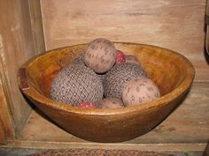 Our Nanny's Fixin' Bowl Treenware with Rag Balls is the perfect primitive touch for your country style home. https://www.primitivestarquiltshop.com/products/nannys-fixin-bowl-treenware-with-rag-balls #primitivecountryhomedecor