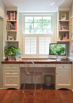 This is only to show how shelves can be built around a window, but that's not where I would put your desk.