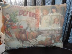 Accent PilloW The Night Before Christmas Glitter Accents Primitive Country Decor #nannysattic15 Ebay