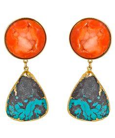 Dara Ettinger Adelaide Orange and Aqua Earrings