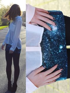 Janine De Bart - H&M Sheer Blouse, H&M Galaxy Skirt, Primark Wedges - My nails match my skirt