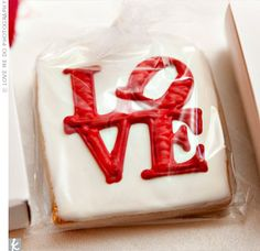 Love Cookie Favors - Guests found their tables with their favor boxes. Custom-made LOVE cookies were inside the boxes. Wedding Cookies, Wedding Favors, Wedding Ideas, Wedding Inspiration, Wedding Pictures, Wedding Table, Party Favors, Wedding Venues, Wedding Planning