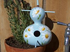 Hand-Painted Gourd Blue Birdhouse with White Daisies on Etsy, $18.95