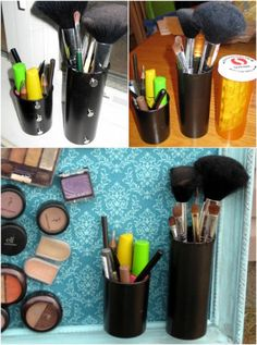 Makeup Organizer-You'll find the size of prescription pill bottles make them perfect for your beauty products and tools, like your brushes, eyeliners and mascara. Brush Holders, Makeup Brushes, Eyeshadow, Eye Shadow, Makeup Hashtags, Eyeshadows, Eye Shadows, Brushes, Makeup Brush