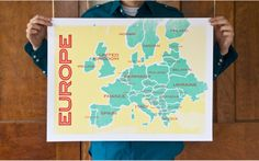still like this modern map of Europe //yellow & teal .still in search of the perfect map to hang. European Map, European History, European Style, Road Trip Europe, Europe Europe, Traveling Europe, Travelling, Poland Germany, Travel Maps