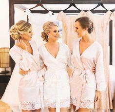 Homebodii Real Brides | Sian ivory bridal robe & Bella blush bridesmaid robe