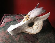 White and Gold Unicorn Mask - Handmade Mask Fantasy Art Costume by LaPetiteMascarade