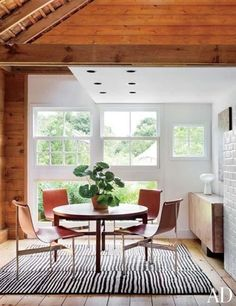 Dining room, modern, Scandinavian, wood, striped rug, open, light                                                                                                                                                     More