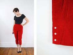 1950s Red Velvet Capri Pants / Clam Diggers  S/M by LoveCharles