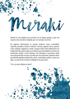 MERAKI ~ Exhibition January 2018 on Behance Weird Words, Rare Words, Cool Words, One Word Quotes, Quotes To Live By, Life Quotes, Phrase Tattoos, Tattoo Quotes, Pretty Words