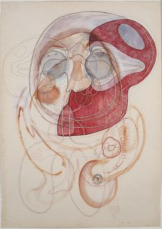 Lubos Plny Blue Eyes with Red Area, 2004-05 Mixed media/paper 23.5 x 16.5 in  (59.7 x 41.9 cm) LuP 17