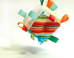 Colorful Baby Toy Developmental Block - Striped Fabric - Turquoise - Sage Green - Red, Orange - Ribbons - Rattle on Etsy, $18.00