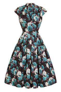 Perfect Teal Roses Eva Dress : Lady Vintage