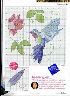 Colibrí 2 Cross Stitch Cards, Cute Cross Stitch, Cross Stitch Animals, Cross Stitch Flowers, Cross Stitching, Needlepoint Patterns, Counted Cross Stitch Patterns, Cross Stitch Designs, Cross Stitch Embroidery