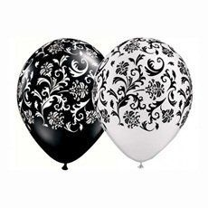24 Assorted Black and White Damask Print Balloons