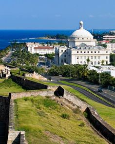 Old San Juan Puerto Rico With Capital view from El Morro Puerto Rico Island, San Juan Puerto Rico, Porto Rico, Honeymoon Getaways, Honeymoon Destinations, Beautiful Islands, Beautiful Places, Beautiful Beach, Places To Travel