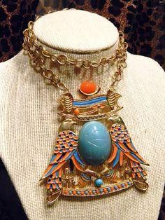 Vintage Trifari Egyptian Revival Scarab Enamel Necklace Estate Stament Jewelry | eBay