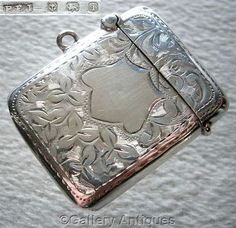 Edwardian 925 Sterling Solid Silver Chased Ivy Leaf Vesta Match Case by Percy Frederick Jackson, Hallmarked for Birmingham, 1908 by GalleryAntiques £65