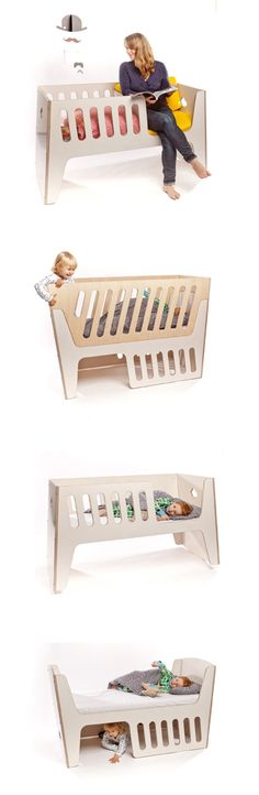 Furniture is one of long life, because it adapts to the needs of the growing child. In the first Step is the rocking chair for parents and baby in a cradle. In the second Step turns it 180 degrees and receives a bed of 140 cm length. The flexible side walls offer, if necessary, protection and limitation. Rocky is now available to orde
