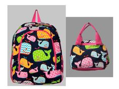 Monogrammed Whale Backpack/Lunch bag by silvermooseshop on Etsy