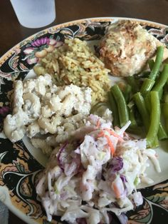 Chix, rice, beans and salads at Karl's house, July 2016.