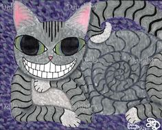 """""""Cheshire Face"""" A 8x 10 acrylic on stretched canvas. By Della Daughtry. Sorry this painting is SOLD"""