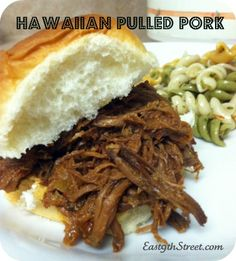 Hawaiian Pulled Pork in slow cooker. So quick to throw together and delicious! Just allow 8 hours for cooking on low.