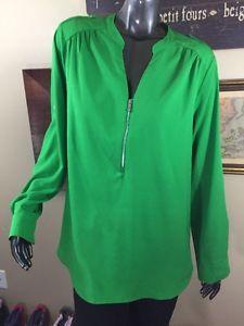 Women's Calvin Klein Half Zip Bright Green Top Size L Convertible Long sleeve  | eBay