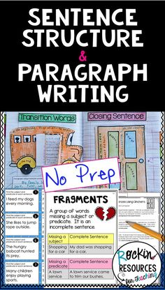This step-by-step sentence structure and paragraph writing resource covers topics, predicates, full Paragraph Writing, Narrative Writing, Persuasive Writing, Teaching Writing, Writing Activities, Teaching Ideas, Writing Ideas, Writing Process, Writing Centers