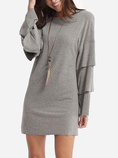 Plain Mandarin Sleeve Designed Crew Neck Shift-dress - fashionme.com