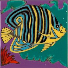 Hand Painted Ceramic Tile Angel Fish Original by PacificBlueTile, $29.95