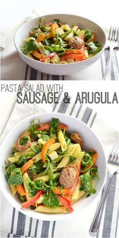 Pasta salad is a great way to work vegetables into your diet AND use up leftovers! Pasta Salad with Sausage and Arugula - BudgetBytes.com