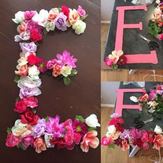 Floral letters- cardboard cut out letter, paint, hot glue and fake flowers