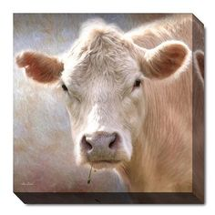 Cow Canvas, Canvas Wall Art, Cow Pictures, Cow Pics, Life Pictures, Animal Pictures, Cow Painting, White Cow, Cow Art