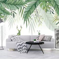 Mural Wall Art, Diy Wall Art, Wall Decor, Green Wallpaper, Home Wallpaper, Wallpaper Wallpapers, Forest Mural, Bedroom Color Schemes, Green Rooms