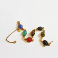 Vintage Burt Cassell Scarab Link Bracelet, 1/20 12K Gold Filled,... ($38) ❤ liked on Polyvore featuring jewelry, bracelets, vintage egyptian jewelry, egyptian-inspired jewelry, egyptian jewellery, semi precious jewellery and egyptian jewelry