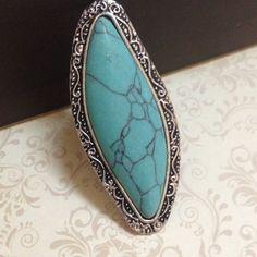 Anel em prata turca envelhecida com pedra azul turquesa - AN59C2135