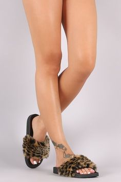 Qupid Fuzzy Leopard Faux Fur Slide Sandal