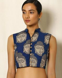 Buy Dark Blue Indie Picks Kalamkari Print Cotton Blouse