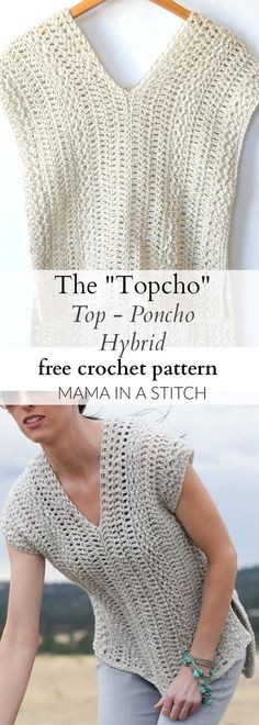 """The """"Topcho"""" Easy Crochet Shirt Pattern via @MamaInAStitch This beginner friendly crochet pattern is easy and includes picture tutorials. #diy #crafts:"""